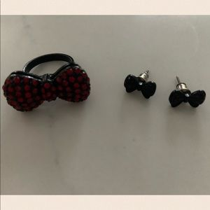 Bow ring and earrings